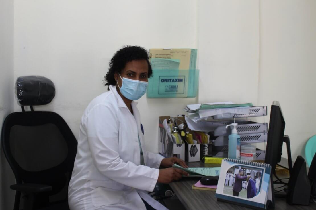 Sister Konjit at her desk
