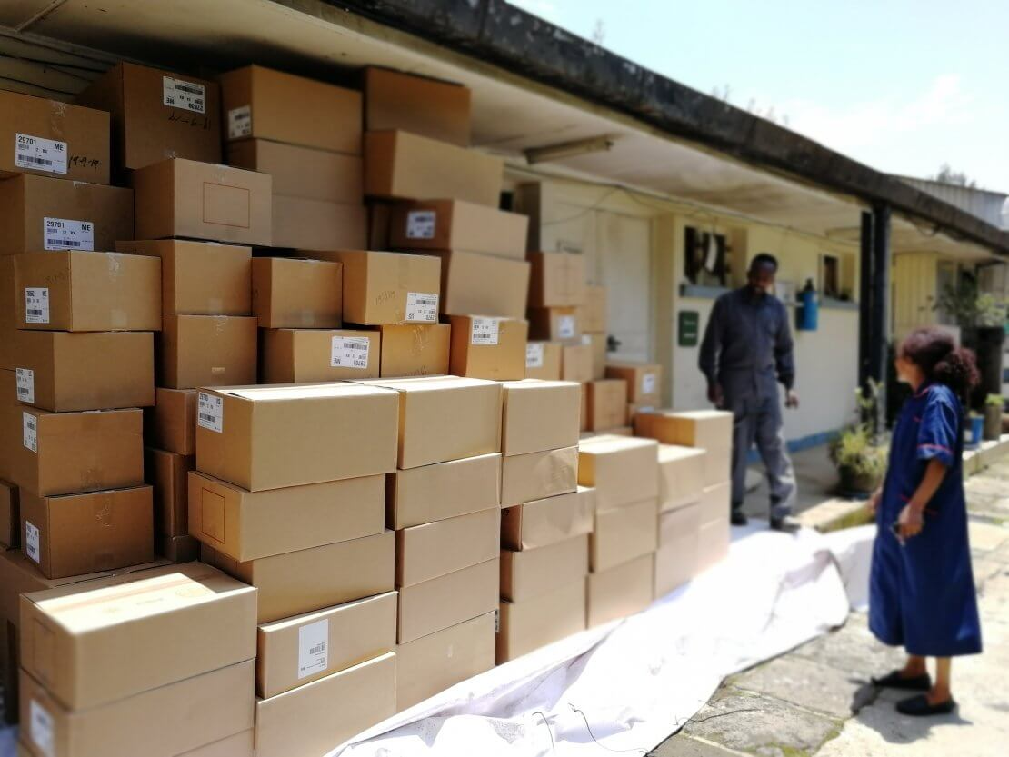 A consignment of medical supplies arrives at the Addis Ababa Fistula Hospital