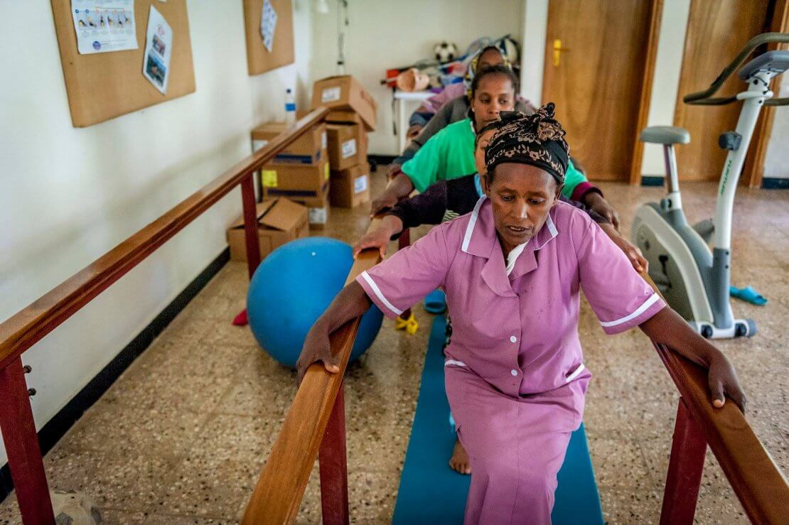 Patients doing physiotherapy